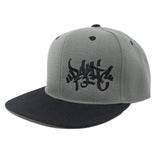 The Charcoal / Black Tag Logo Snapback Hat - concreteaddicts