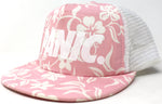 Sleek Floral Print Mesh Back Snapback Hat in Pink / White - concreteaddicts