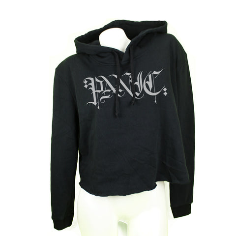 Scribed Black Womens Cropped Fleece Hoodie - concreteaddicts