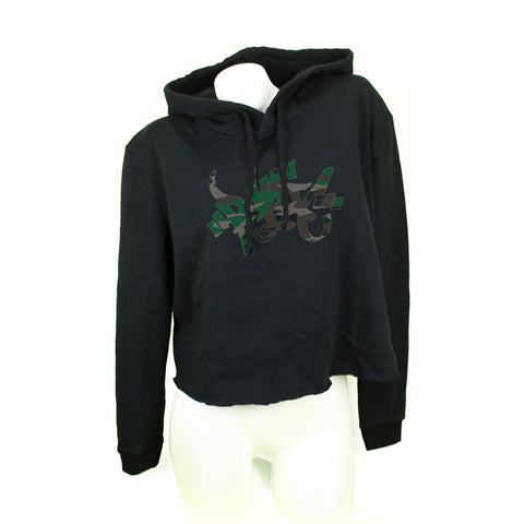 Camo Tag Black Womens Cropped Fleece Hoodie - concreteaddicts