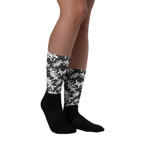Panic 39 Tag Allover Print Socks - concreteaddicts