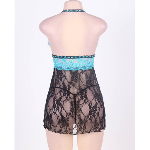 OY Sheer Lace Halter Babydoll