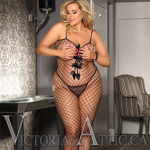 OY Bow Fishnet Bodystocking