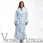 La Cera Floral Fleece Wrap Bath Robe Blue