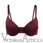 OY Lightly Padded T Shirt Plunge Bra Wine