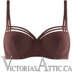 Marlies Dekkers Dame De Paris Balcony Bra Chestnut Brown w/ Golden Lurex