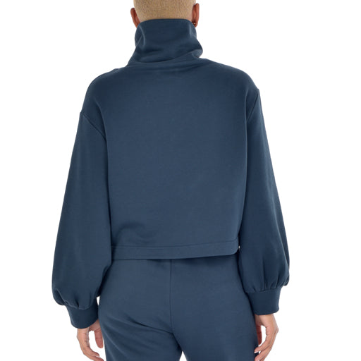 Paper Label QUILL Blouson Sleeve Top Midnight Blue