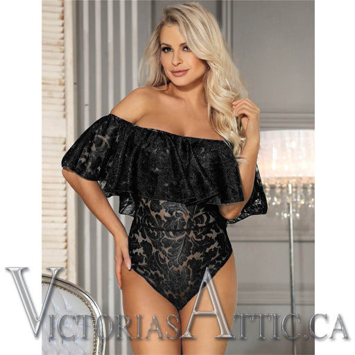 OY Lace Ruffle Off The Shoulder Bodysuit