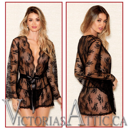 ICollection Scallop Lace Robe Black