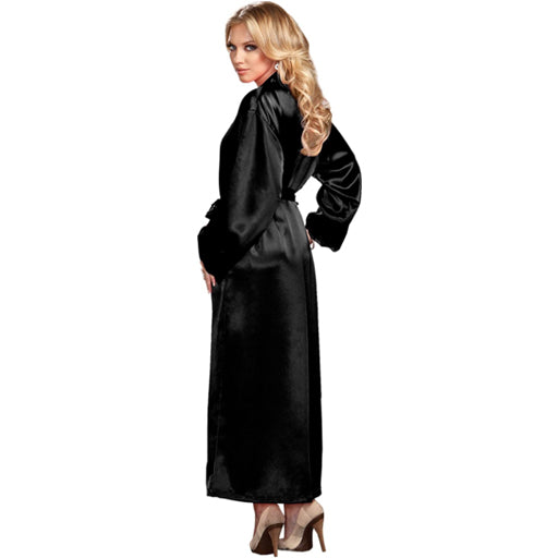 ICollection Long Satin Robe - Lace Trim Cuffs
