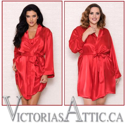 ICollection Satin Robe Red