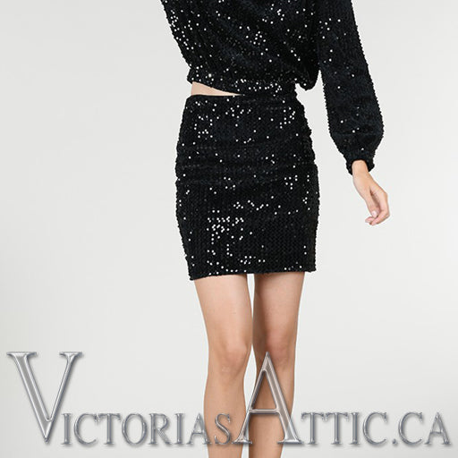 Molly Bracken Sequin Skirt Black