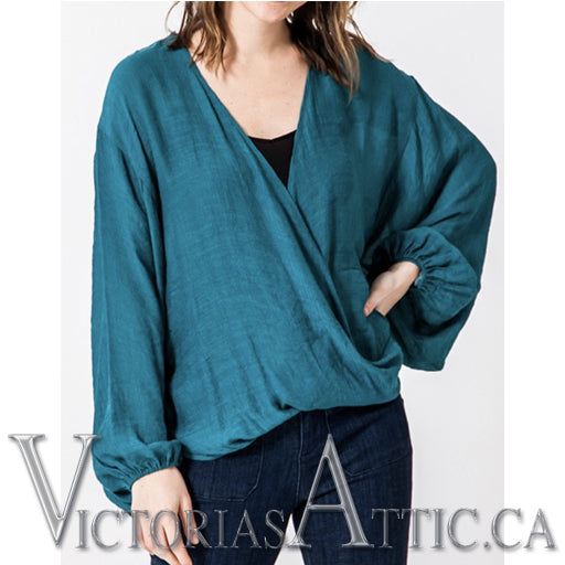 Favlux Fashion Crossover Poncho Blouse - Teal Green