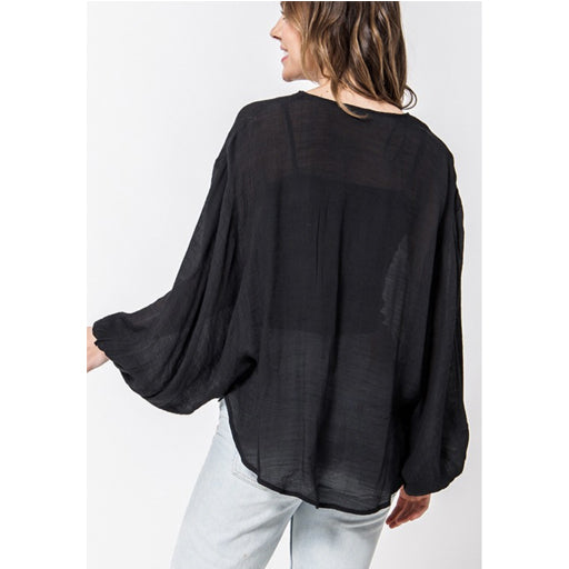 Favlux Fashion Crossover Poncho Blouse - Black
