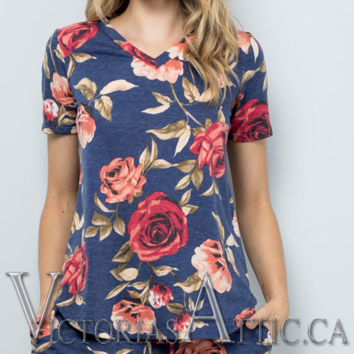 Sweet LBJ Floral French Terry Cropped Top
