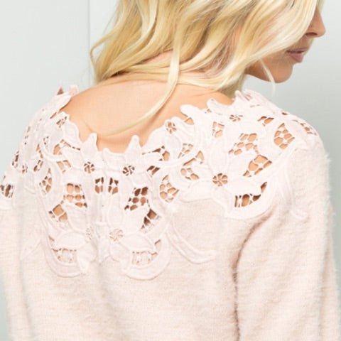 Sweet LBJ Sheer Crochet Lace Sweater