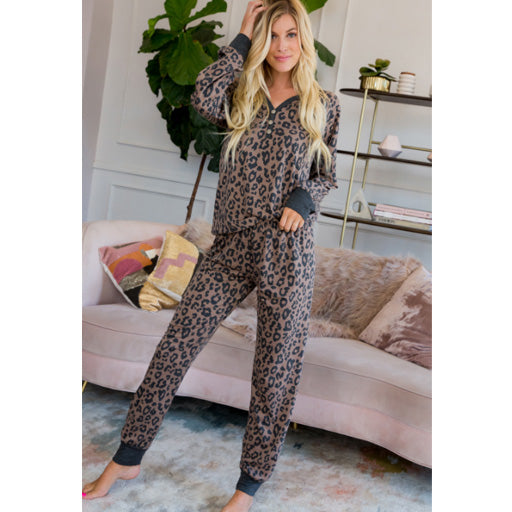 Sweet LBJ Leopard Long Sleeve Top & Pant Lounge Set