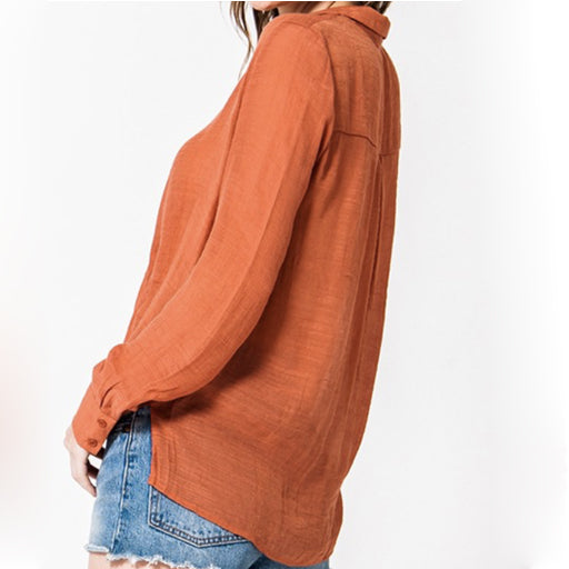 Favlux Fashion LS Surplice Blouse - Rust