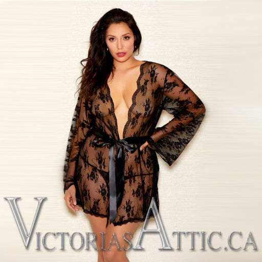 ICollection Scallop Edge Lace Robe