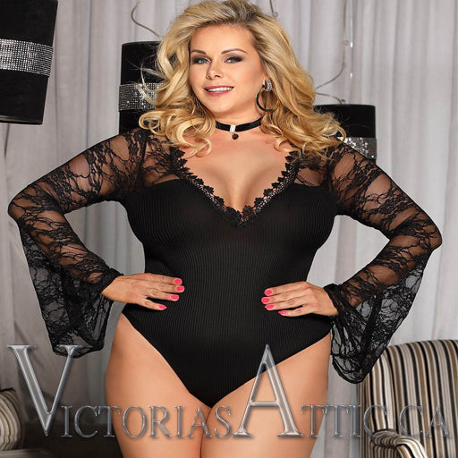 OY Eyelash Horn Sleeve Bodysuit Black