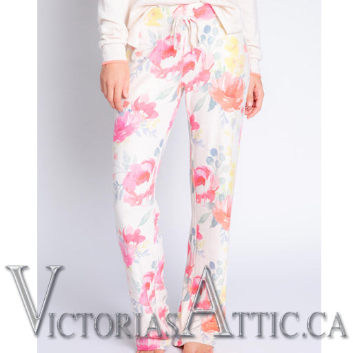 PJ Salvage Happy Blooms Floral Pants with Lounge Coral Tank