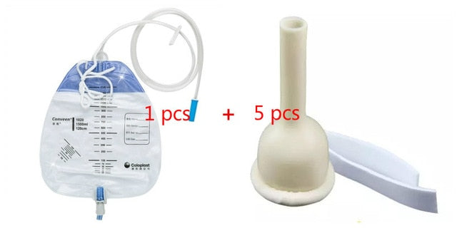 1 drainage bag & 5 latex/silicone self adhering male external catheter urinal