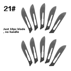 10 pc 20#--23# Carbon Steel Surgical Scalpel Blades + 1pc 4# Handle Scalpel