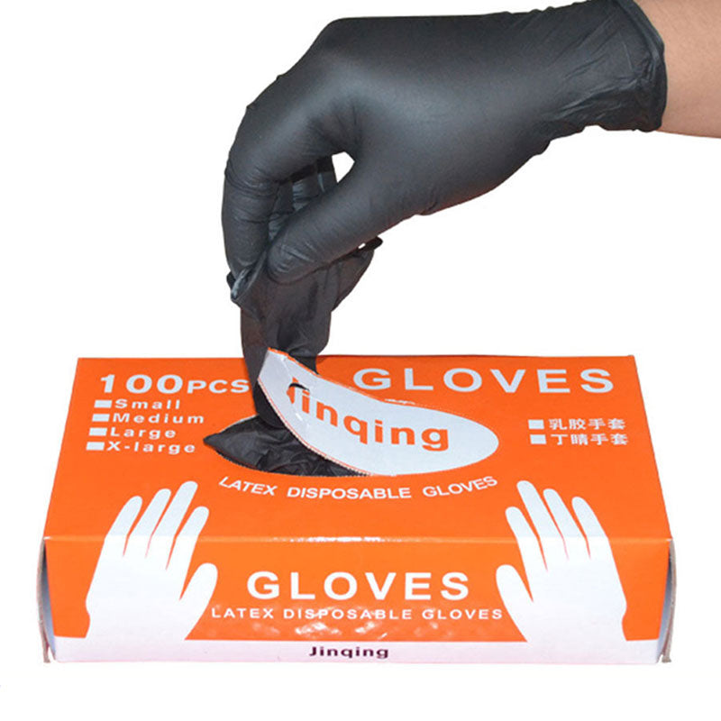 100Pcs/Box Black Disposable Nitrile Gloves Powder Free Ambidextrous For Medical