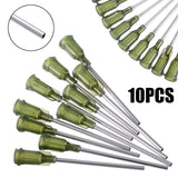 "10pcs/lot Syringe Needle Tips Olive Color Syringe1.5"" 14 ga"