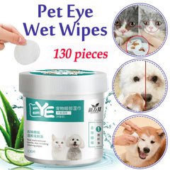 130 Pieces Pet Eye Wet Wipes Dog Cat Tear Stain Remover Pet Eye Grooming Wipes