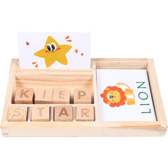 30pcs Cards Kids Learning English Word Wooden Toys