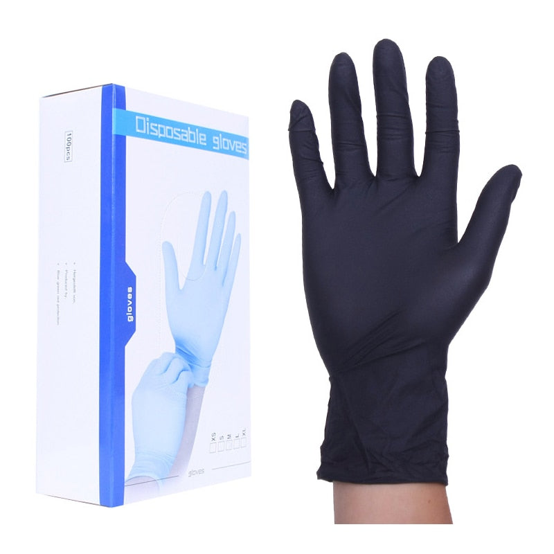 50 Pairs/Pack  24cm Extra Strong Latex Gloves Medical Black Powder Free Nitrile Gloves