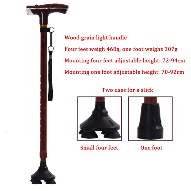 Safe Reliable Old Man Crutches High-grade Light Wood Grain