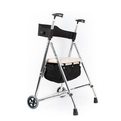 2 wheels foldable rollator walker with storage basket and soft seat