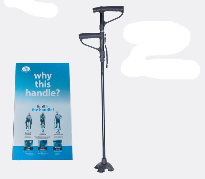 Anti-skid stick old man crutches Adjustable Foldable 4 Section Ultra-light