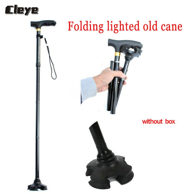 Crutches Poles Thick Aluminum Alloy Folding Light For Elderly