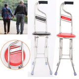 2 in Four Legs Foldable For Up to 130kg Adjustable Chair Stool Seat Portable Crutch