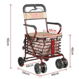 Foldable Trolley Shopping Cart Can Sit and Push Scooter Four Wheels