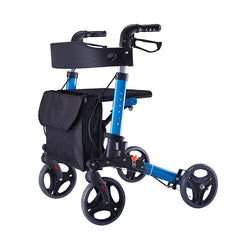 Foldable aluminum alloy forearm rollator walker with seat for elderly people