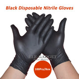 New 100pcs/pack Disposable Black Nitrile Gloves