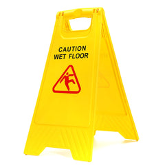 New Yellow Caution Wet Floor Sign
