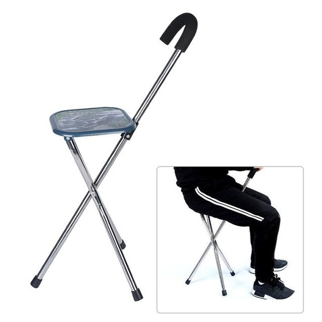 Folding Cane Seat Casual Stainless Steel The Elderly Walking Stick Three-Foot Crutch Stool
