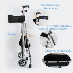 Rollator shopping walker adjustable folding with storage basket and soft seat