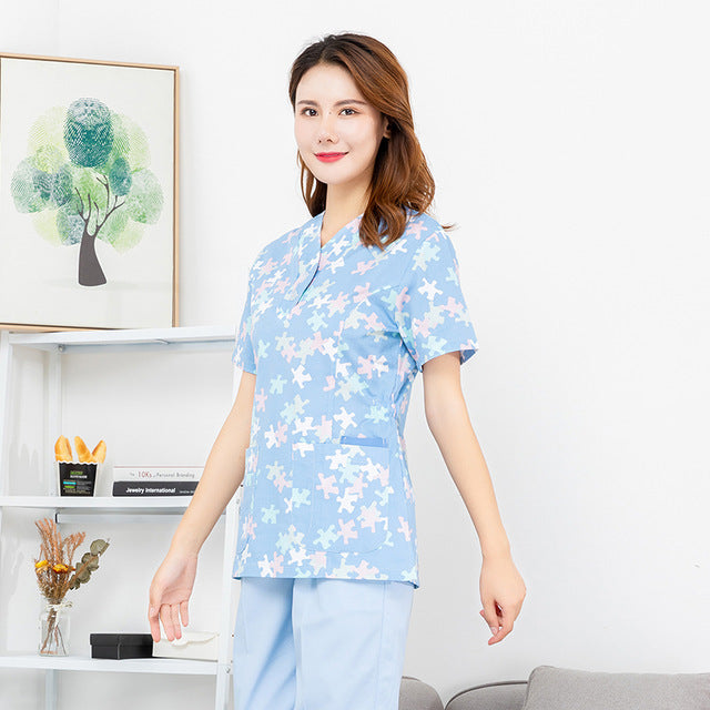 Slim Fit Women V-neck Medical Clothes Uniforms