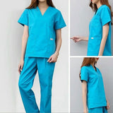 V Neck Short Sleeve Women Work Tops Pants Scrub Sets