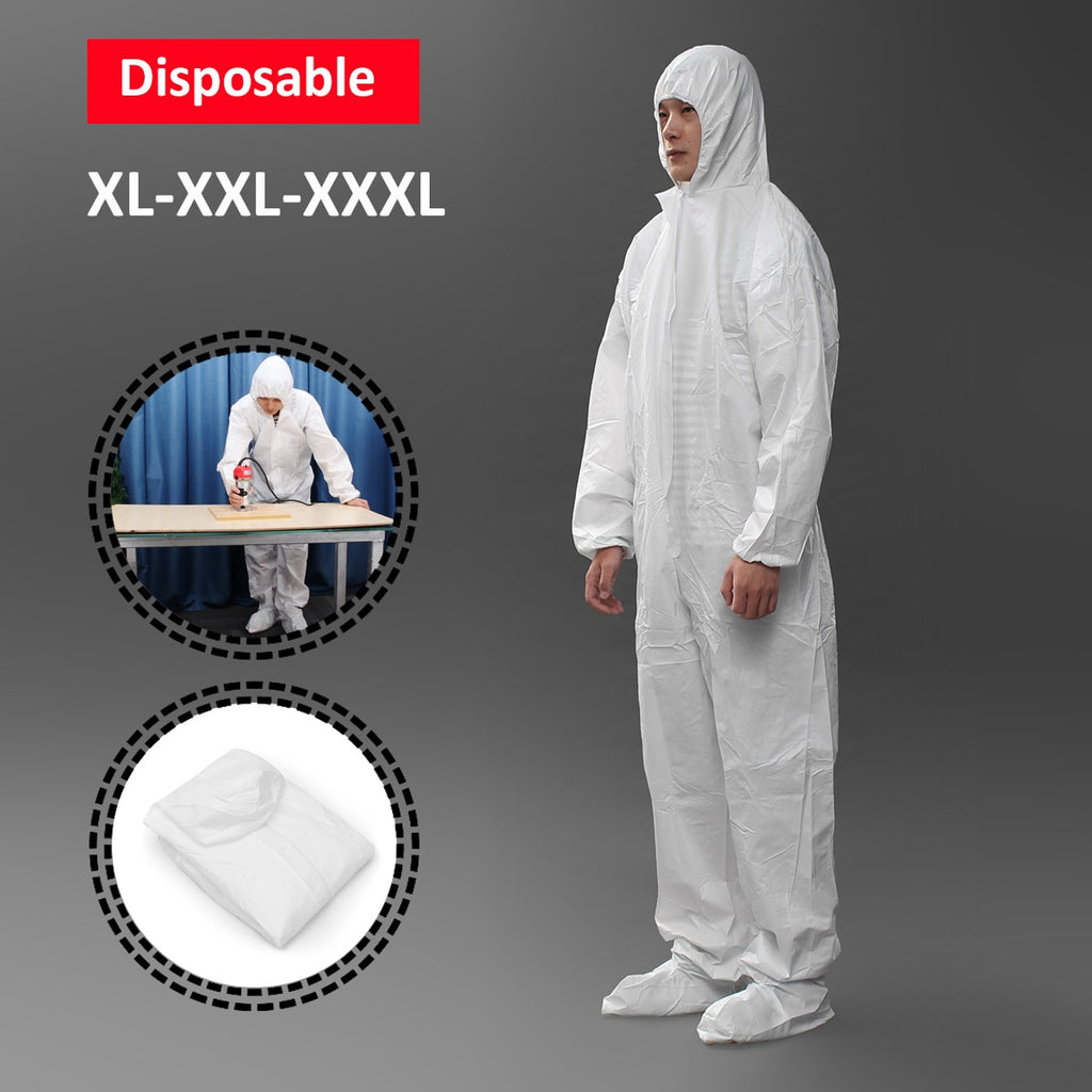 White Safety Clothing Work Clothes Conjoined With Hood Cap XL/XXL/XXXL