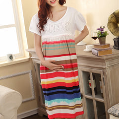 Maternity Dress Short Sleeves Cotton