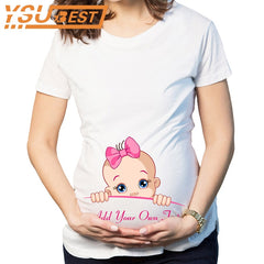 Maternity Tops Tees Cotton T-shirt for Pregnant Women Tees 2XL