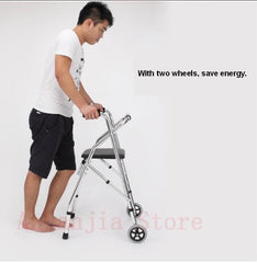 Standing lightweight rollator walker with seat