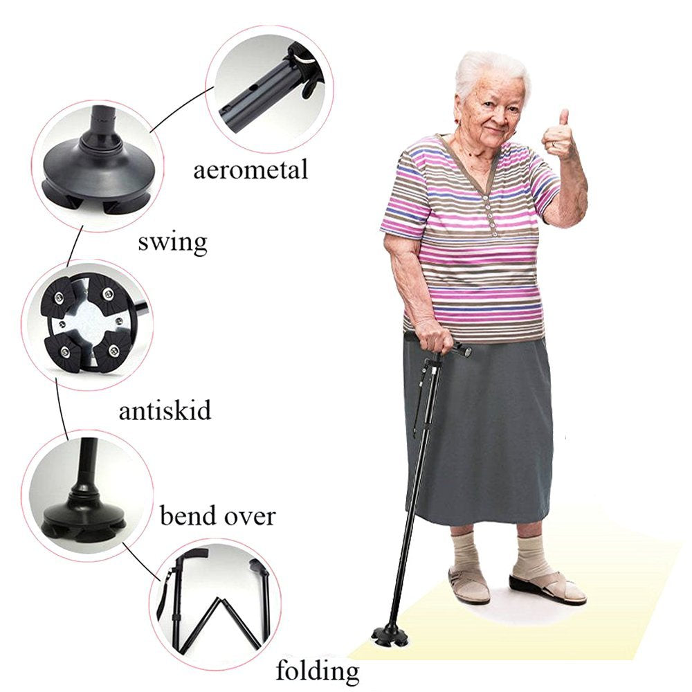 Led light old man folding cane walking stick